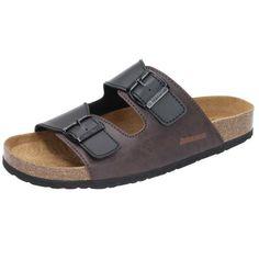 Damen Tieffußbett Sandalen Komfort Leder Pantoletten Kork Hausschuhe Badeschuhe