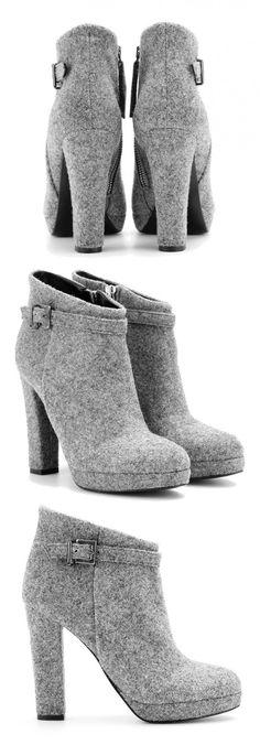 Intramontabile 'Harmony' Plateau Stiefeletten aus gekochter Wolle | Charity Heels