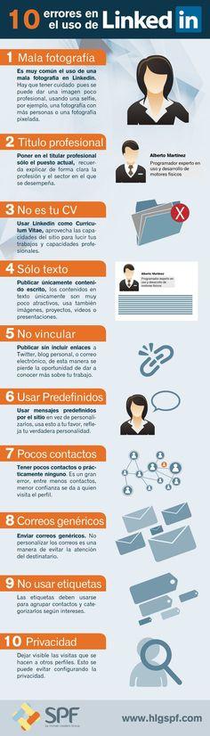 Infografía: 10 errores a evitar en tu perfil de Linkedin  No cometas estos errores en la red para profesionales.