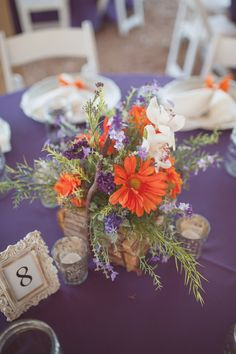 Purple and Orange Barn Wedding | photo by Julie Paisley Photography but instead I would use purple and yellow