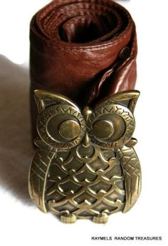 Brass Metal Owl Belt Buckle