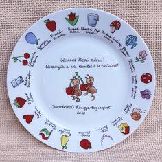 Ballagási tányér jelekkel ovisoknak - Szizi Művek Pie Dish, Decorative Plates, Dishes, Diy, Bricolage, Tablewares, Flatware, Diys, Handyman Projects