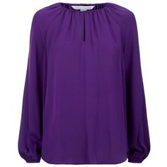 Diane von Furstenberg Marnie Silk Blouse (€340) ❤ liked on Polyvore featuring tops, blouses, shirred top, purple blouse, diane von furstenberg, silk top and long bell sleeve tops
