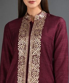 Best 12 Maroon Gota Patti And Sequins Embroidered Jacket Suit Dress Neck Designs, Designs For Dresses, Blouse Designs, Henna Designs, Indian Designer Outfits, Indian Outfits, Designer Dresses, Hand Embroidery Dress, Embroidery Suits