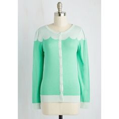 Darling Mid-length Long Sleeve Paris Cafe Cardigan (3.375 RUB) ❤ liked on Polyvore featuring tops, cardigans, sweaters, apparel, green, special occasion tops, holiday tops, scalloped top, button down top and evening tops