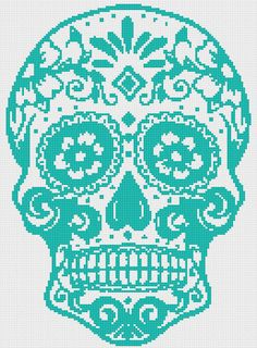 Title: Sugar Skull - pop art cross stitch Dimension: Suggested Fabric: ~~14 ct. aida Stitches: Grid Size:~~~~~~~~~~129W x 175H Design Area:
