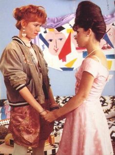 Pretty in Pink. Mixing Varsity with cute dresses.  I absolutely love this movie, and these two girls. They are beautiful <3