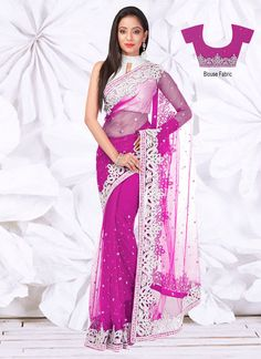 Splendid Pink Net Saree