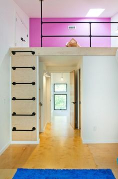 Increase your home functionality with ideas for ladders of all kinds - Spitzboden - Kinderzimmer Ideen Tiny Loft, Tiny House Loft, Small Loft, Loft Bed Stairs, House Stairs, Lofted Dorm Beds, Pipe Railing, Attic Bed, Cool Kids Rooms