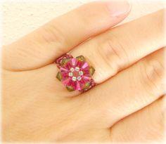 Beaded Ring - Swarovski Crystal Ring -  Tiny Flower Beaded - Fuchsia and Olive Green Ring - Size 6 - Beaded Ring - Beadwork Ring via Etsy