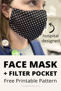 It's an olson style with a filter pocket and hair ties. 'Surgical' / 'medical' in style designed by a hospital. There is a printable pdf for this DIY. Click through to make your own homemade cloth mask. Sewing Patterns Free, Free Sewing, Free Pattern, Dog Pattern, Pattern Sewing, Sewing Tutorials, Sewing Projects, Easy Face Masks, Diy Face Mask