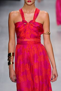 Issa Spring 2013. So amazing. Such a different neckline, I love it. And love the gold cuff jewelry. All so fab.