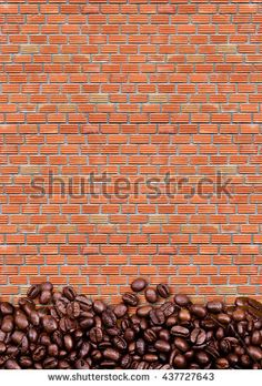 loft style, coffee beans on brick wall background