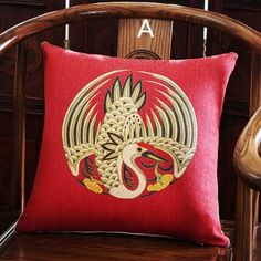 Chinoiserie Phoenix pillows for living room Chinese style red ...