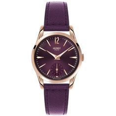 Henry London Henry London Hampstead Berry Dial Berry Leather Strap... (530 RON) ❤ liked on Polyvore featuring jewelry, watches, engraved watches, leather-strap watches, engraving watches, leather wrist watch and leather jewelry