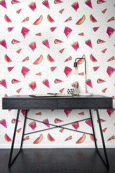 Wallpaper inspiration   Black décor accents   Pops of colour styling   Slice- Wallpaper by Paula Coop McCrory via Milton & King #wishtankworthy ♥