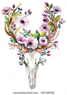 Bright watercolor vector deer skull with  flowers. Deer's head with vintage floral elements. Wedding  retro hipster design.