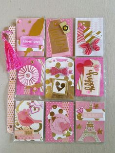 Pink and gold pocket letter by yvonne cunningham