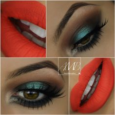 smokey eyes with pop of teal + neon reddish orange lips w/ color Love My Makeup, Kiss Makeup, Gorgeous Makeup, Makeup Looks, Flawless Makeup, Makeup Dupes, Glam Makeup, Beauty Makeup, Eye Makeup