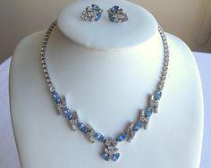 Vintage rhinestone Necklace Set, Bridal blue and diamante by popgoesmyvintage on Etsy