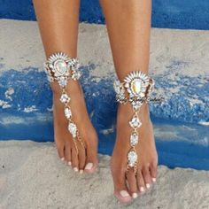 Luxe Crystal Beach Jeweled BareFoot Sandals Wedding Foot Jewelry-Ankle Foot Jewelry-Body Kandy Couture
