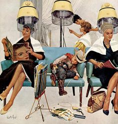 Trapped in the beauty parlor with Mom ~ Saturday Evening Post cover by Kurt Ard, May 1961.
