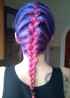 Pink blue and purple hair color