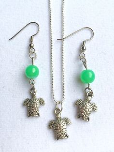 Silver Turtle Necklace and Earring Set by RedSilentWolfJewelry