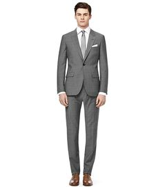Youngs One Button Peak Lapel Suit Grey Melange. for the big day perhaps