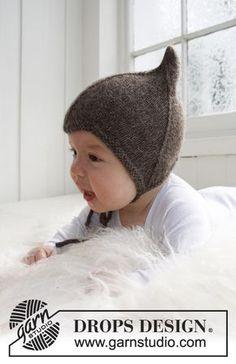 """Strikket DROPS djævlehue i """"Alpaca"""" Gratis opskrifter fra DROPS Design."""