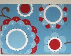 Trio de Telas Floral Blue Red