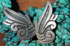 Vintage Mexican 925 Sterling Silver Dannys Calar Heart Screw Back Earrings