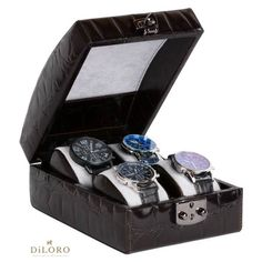 cfade2a5830 DiLoro Italian Leather Watch Case Holds Four Watches