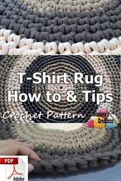 Share this: This Free Crochet pattern teaches how to make a round rug using T shirt yarn. It also teaches you what to look for and how to make adjustments if you want to make the rug bigger. T- Shirt Yarn Round Rug – Free Crochet Pattern This page co Carpet Crochet, Crochet Home, Crochet Crafts, Crochet Yarn, Free Crochet, Diy Crochet Round Rug, Crotchet, How To Crochet, Doilies Crochet