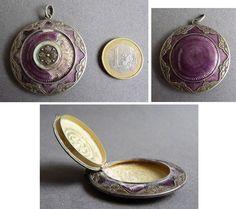 Petit poudrier de chatelaine en argent massif + émail  vers 1900 silver enamel