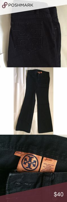 Tory Burch Black Bootcut Jeans Size 28 Super cute black Bootcut jeans from Tory Burch. Size 28, great condition. Not much stretch to them so if you're on the larger side of 28 they may be a little tight. Tory Burch Jeans Boot Cut