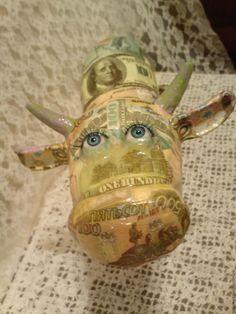 Купить Корова папье-маше Денежная - денежный подарок, подарок, подарок на новый год, подарок девушке