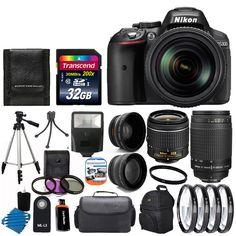 Nikon D5300 Digital SLR Camera 8 Lens 18-55mm VR 70-300mm Flash 32GB Top Kit