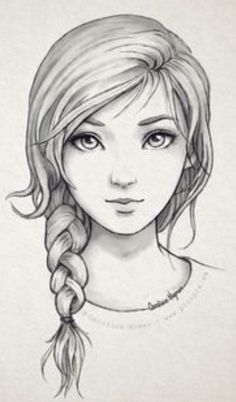 Secrets Of Drawing Realistic Pencil Portraits - Pencil and digital drawings, lines, sketches etc Girl Drawing Sketches, Girl Sketch, Pencil Art Drawings, Easy Drawings, Drawing Tips, Couple Sketch, Drawing Ideas, Sketches Of Couples, Braid Drawing