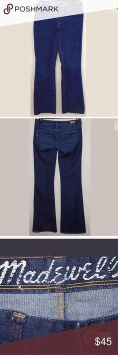"Madewell Boot Leg Dark Wash Bootcut Jeans Sz 28"" Madewell Boot Leg Dark Wash Bootcut Jeans. Size 28"" waist, 32"" inseam, 8 1/2"" rise). 98% Cotton, 2% Spandex. Light distressing. Madewell Jeans Boot Cut"