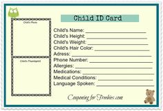 Kids Id Cards  Child Identification Card    Pdf Child