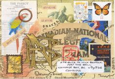 """mail art by D. Dube, """"The chocolate parrot talking telegram"""" A Tribute to Nick Bantock"""