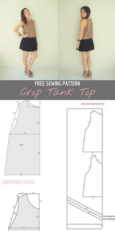 Free Sewing Pattern for an easy crop tank top. Make in lots of different colours and wear with your favorite high waisted bottoms. Instructions at Sew in Love:  http://www.sewinlove.com.au/2012/04/01/free-crop-tank-top-sewing-pattern-and-tutorial/