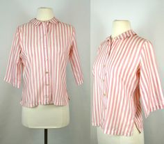 Red and White Stripe Blouse by Ship'n Shore, Peter Pan Collar, Three Quarter Sleeve Formal Blouses, Vintage Outfits, Vintage Fashion, Shirtwaist Dress, Antique Clothing, Normal Wear And Tear, Red And White Stripes, Vintage Denim, Quarter Sleeve
