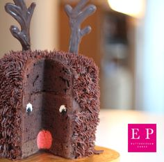 Chocolate Rudolph surprise inside cake by Emma Page Buttercream Cakes London www.emmapagecakes.co.uk