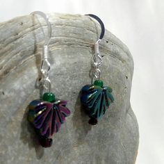 Purple and Green Metalic Leaf Shaped Beaded Sterling Silver