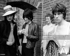 The Jeff Beck Group (L-R Rod Stewart, Ron Wood, Mickey Waller and Jeff Beck) pose for a portrait circa 1968.