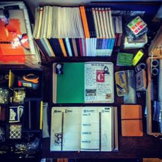 (Organised) Chaos that is my desk! #travelersnotebook #traveljournal #leathernotebook #leatherjournal #journal #artjournal #bulletjournal #planner #notebook #stationery #startbaynotebooks