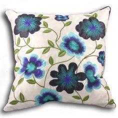 blue crewel pillow