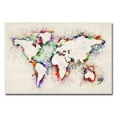 create a stencil and then splash paint onto the canvas...could use this idea for a number of different images, but I love this world map one!